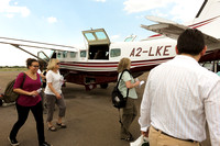 Boarding for the flight to Savute